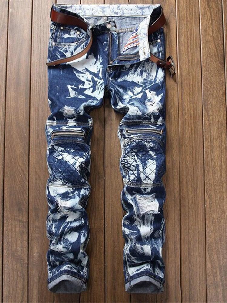 Erkekler Mavi Jeans Moda Pileli kar tanesi Fermuar güzelleştirmek etti Motosiklet Pantolon Stretch Boyutu 28-38 Ripped