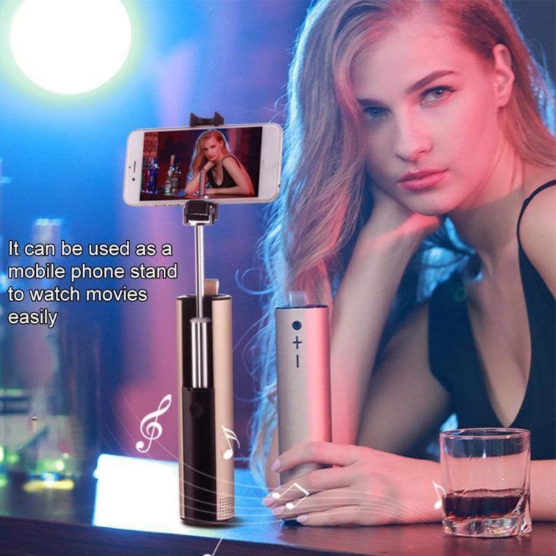 Outdoor Viagem Camping a pilhas de metal Mini portátil Bluetooth Speaker 4 In 1 Stereo selfie vara Multifuncional Handheld