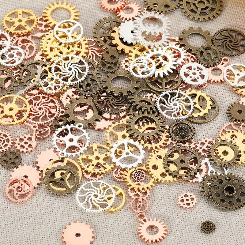 200g Bag Nail Art Steampunk Wheel Gear 3D Phone Decoration Metal 1cm 5cm Steam Punk gearwheel gear slice Mechanical Component Manicure Studs