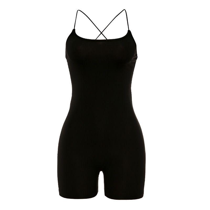 Nero senza maniche Set Yoga Sport Set Donne Croce Tie Sexy Back Slim tuta Gym Suit Abbigliamento Fitness Workout vestiti pagliaccetto