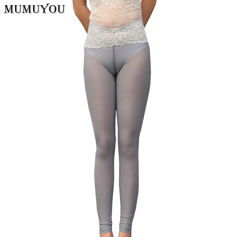 Женщины Sexy Тощий нейлон Леггинсы Твердая See Through Середина талии тонкий эластичный пояс пят брюки Transparent 906-A244 201014