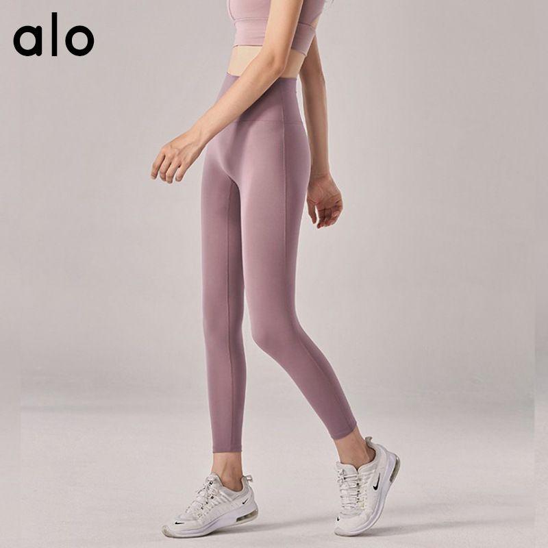 Alo Yoga Novo Nenhuma linha embaraçosa Senso nua Yoga Sports Women Calças de altura cintura flexão americana Leggings Europeu / 50 Q1224