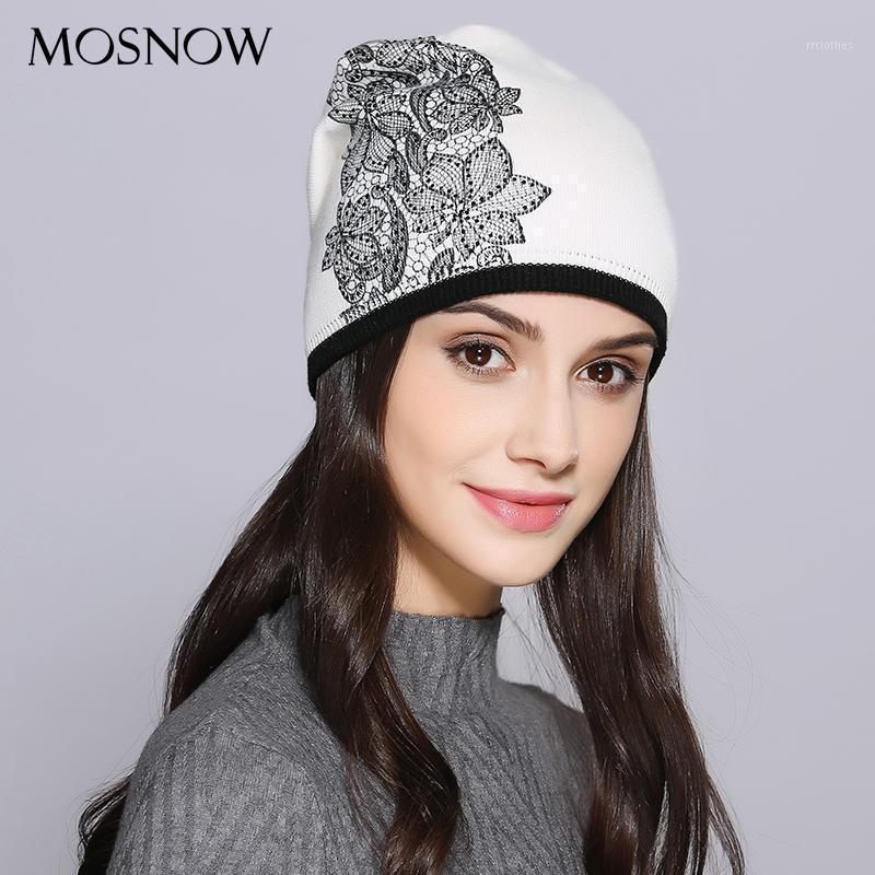 Mosnow mujeres sombrero femenino otoño invierno lana elegante flor decoración nuevo 2020 punto cálido mujeres sombreros skullies goories # mz7211