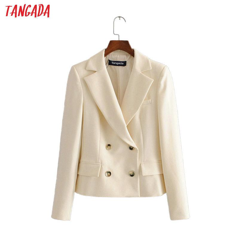 Tangada women double-breasted white blazer female long sleeve elegant jacket office lady formal suits 3H487 201009