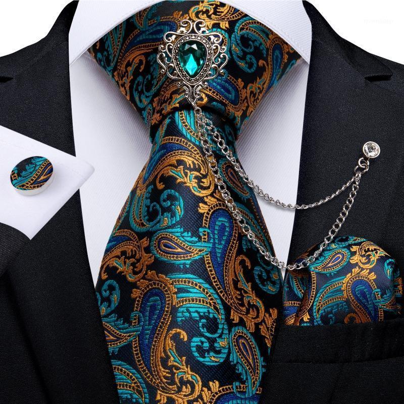 Teal Green Gold Gold Paisley мужская галстука набор делового галстука галстук для ночного платка Запонки 8 см Ширина 150см Свадебный галстук Dropshipping Dibangu1