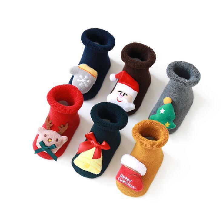 Soft Cotton Toddler Bébé Chaussettes de Noël Anti-Slip Baby Girl Garçons Hiver Chaussettes Chaises Chaudes Beautiful Enfants Noël Chaussettes de plancher pour 0-3y Kids 60