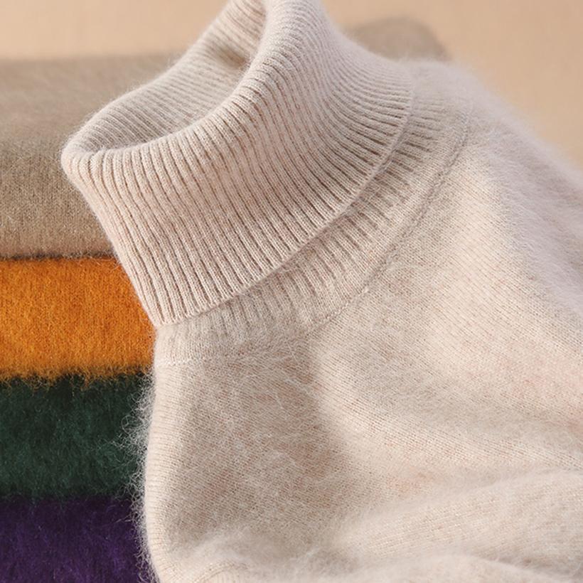 Aqueça Super Mink Cashmere suave pele de lã gola Camisolas e pulôveres para as Mulheres Outono Inverno Jumper Feminino Marca Jumper A1107