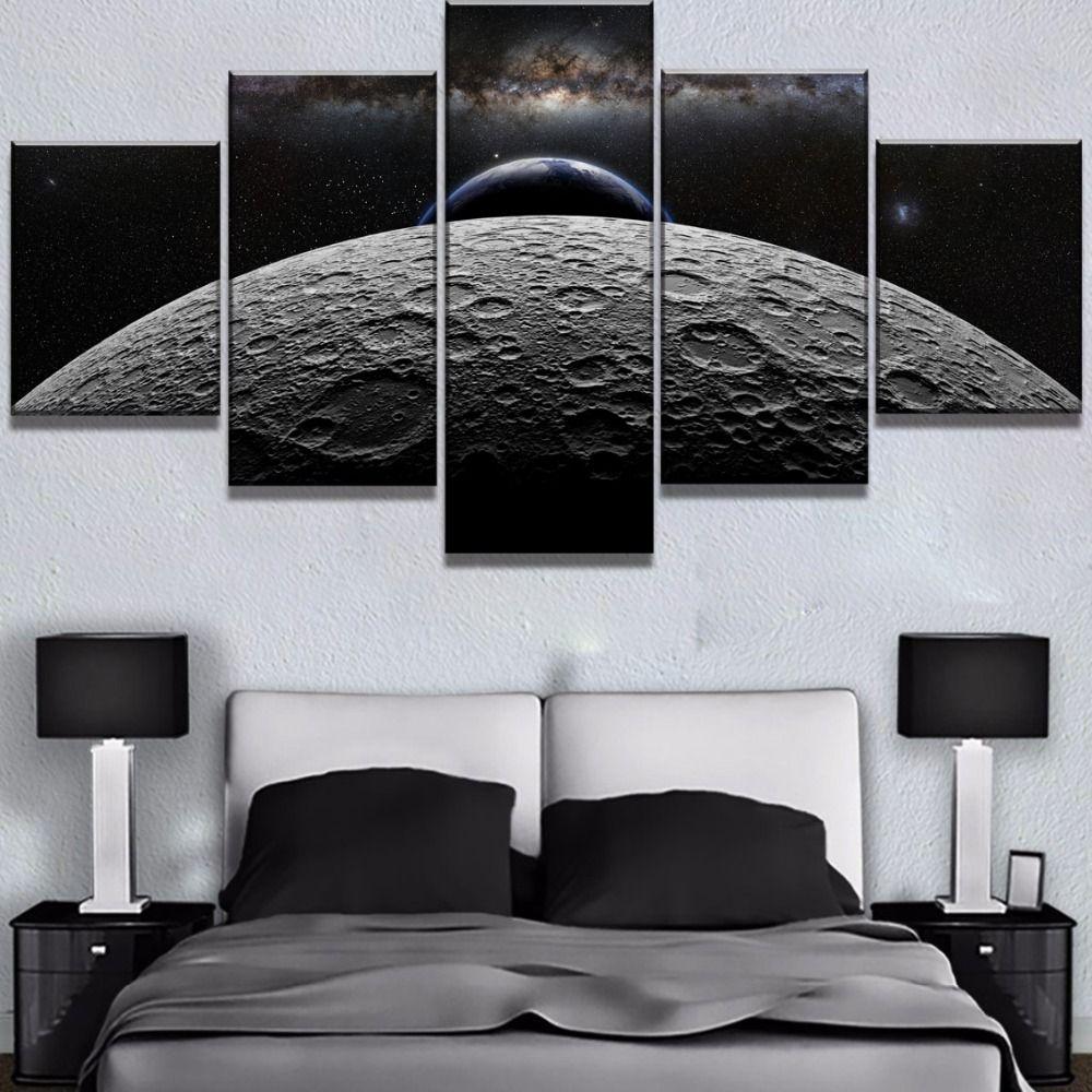 5 peça HD Imprimir Pinturas Grande Terra Lua, Céu, Espaço Cuadros Decoracion on Canvas Art parede para Casa Decorações Wall Decor