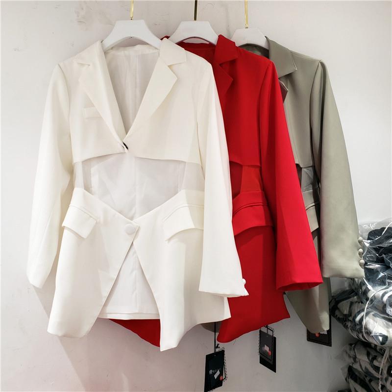 [EAM] Women Red Irregular Split Big Size Blazer New Lapel Long Sleeve Loose Fit Jacket Fashion Tide Spring Autumn 1Y593 201013