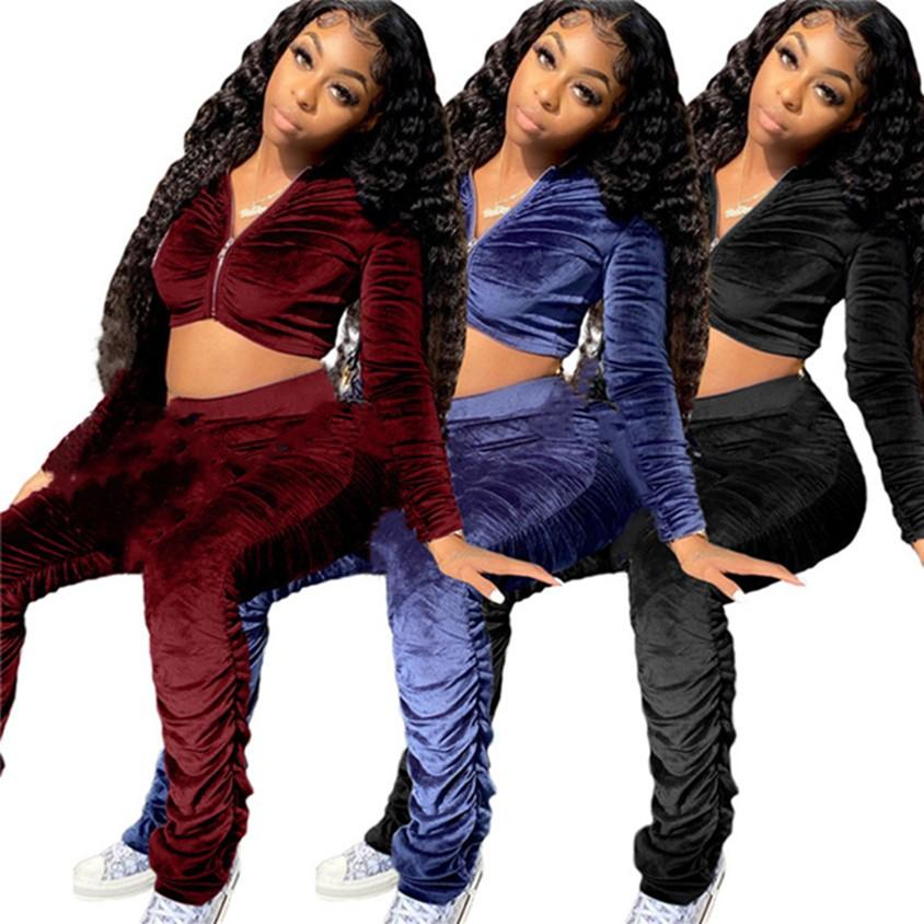 DONNE VELOR 2 PEZZO Set Set semplici TrackSuits Solid Color Sweatsuits Ritardo Top + Pantaloni Manica Lunga Abiti Loungewear Felpe con cappuccio Tempo libero Wear 4332