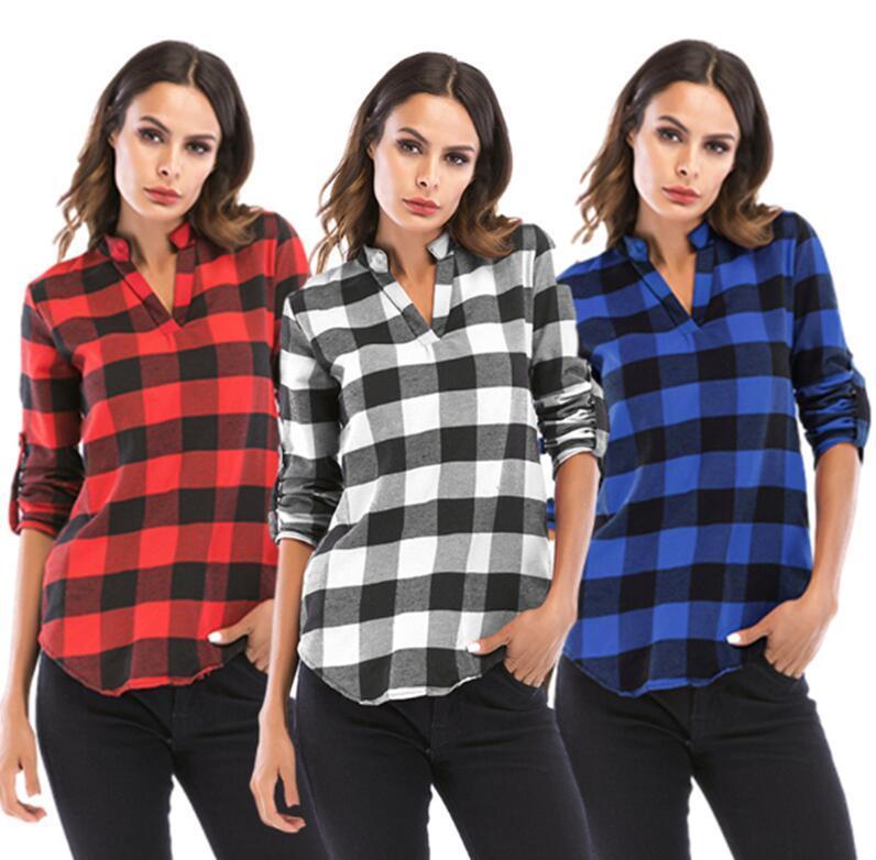 Tamaño extra grande de maternidad de las mujeres de la tela escocesa Jerséis Camisetas Buffalo Mantas Blusas Moda V cuello superior largo ajustable E110604 Escudo de manga larga otoño