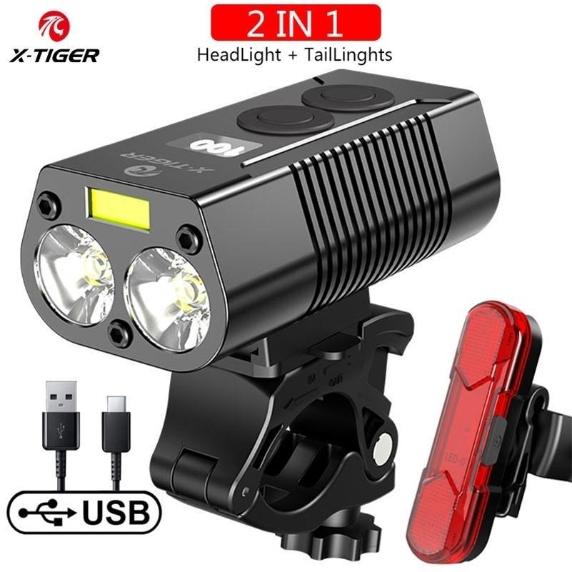 Lampe à vélo de phare de vélo de vélo X-Tiger avec une banque de puissance rechargeable LED 5200MAH MTB Bicycle Vélo Lampe de poche Accessoires de vélo Y200920