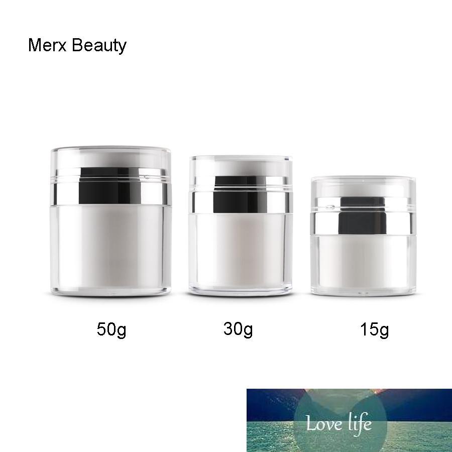 5PCS / LOT 15G 30G 50G Pearl White Press Косметика Пустой Акриловые крем Jar безвоздушного бутылки контейнер, Высококачественная косметика упаковка
