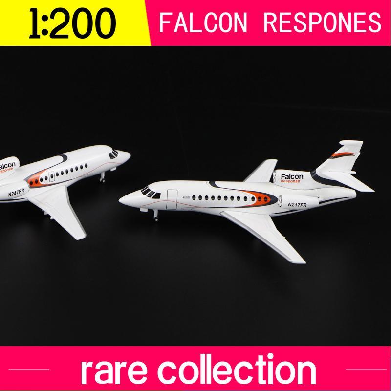1: 200 Falcon Yanıt Simülasyon Alaşımlı Uçak Toplayıcı Modeli N 217FR Nadir Koleksiyon Ekran Q1110