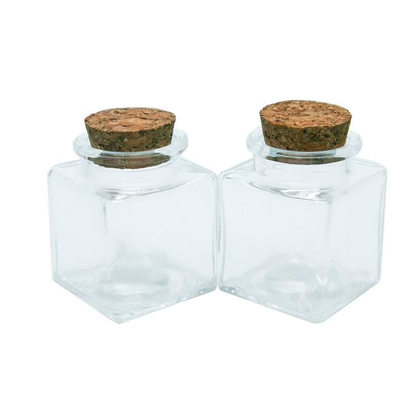 Botella pequeña plaza con los corchos Claro vacíos de botellas de cristal Glycyrrhiza dulces 24pcs de la categoría alimenticia del sello 50 ml tarros Viales