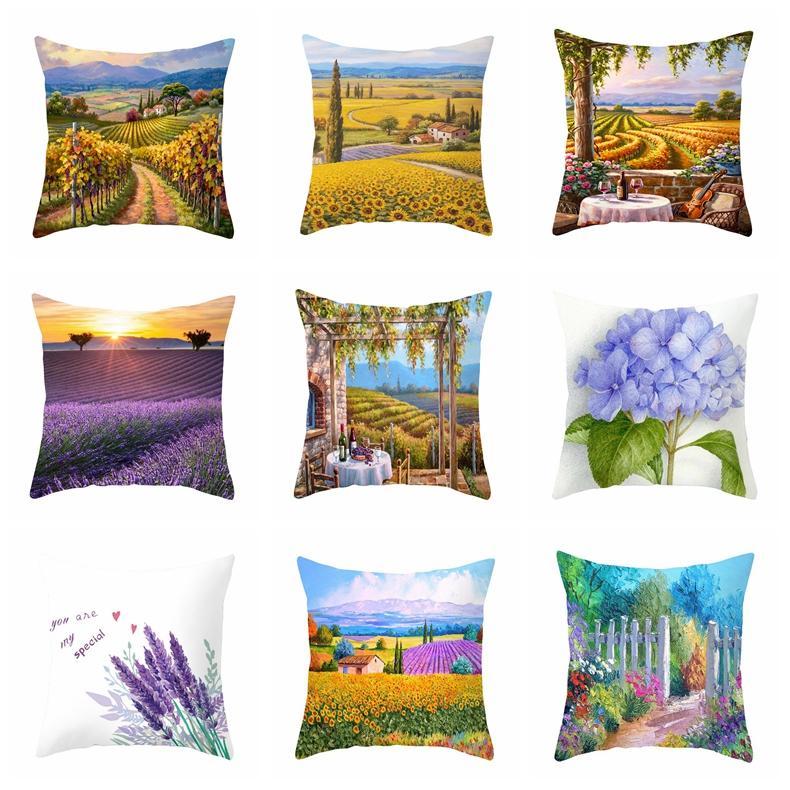 النباتات المنزلية المخدة جميلة لافندر أريكة وسادة كرسي غطاء لينة مريحة سرير ديكور غرفة المعيشة غطاء وسادة GWD2560