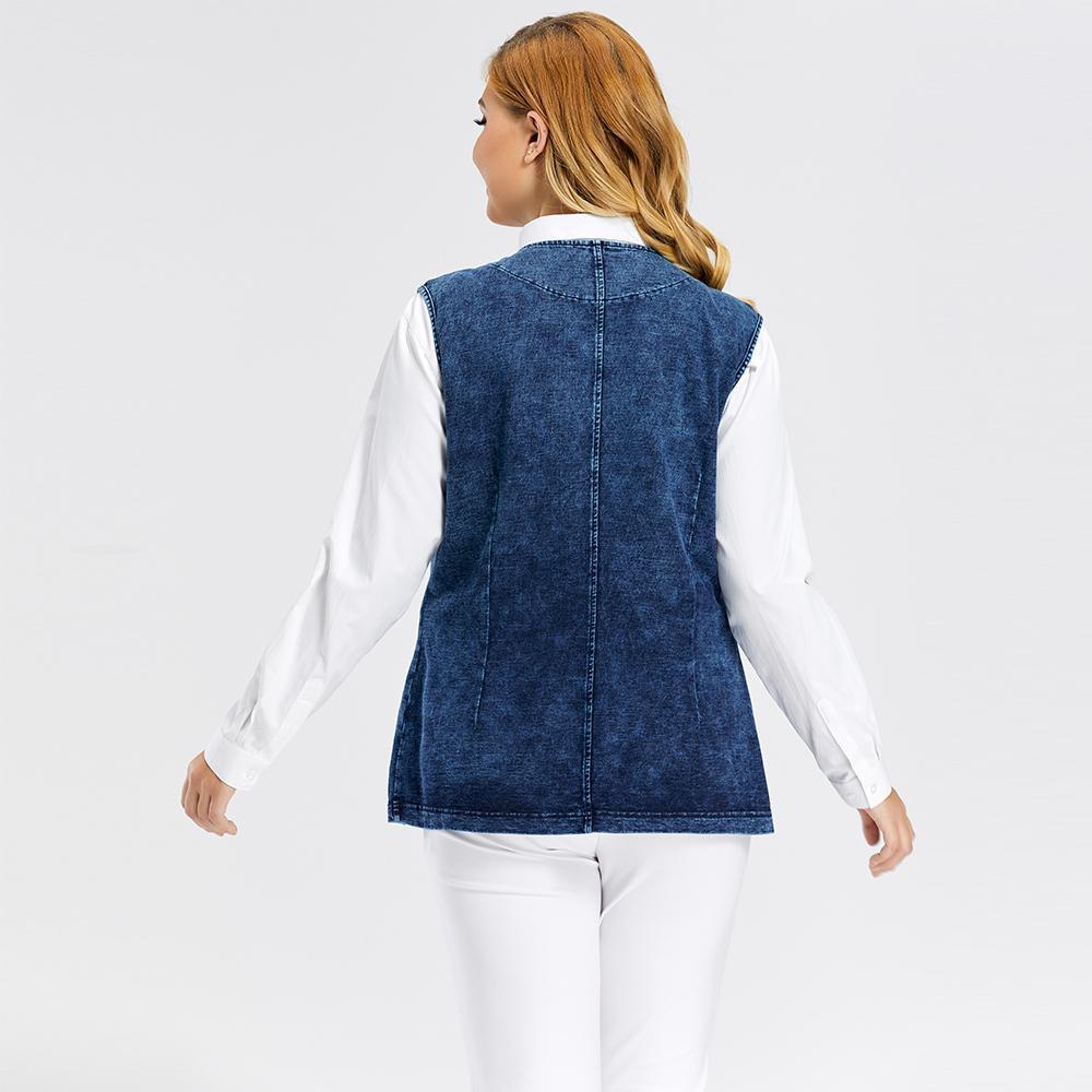 LIH HUA Women's Plus Size Casual Denim Vest stockinet high flexibility Casual jeans Vest 201016