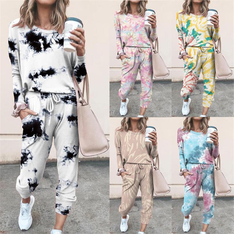 2020 Women Color Leisure Suit Home Service Set Long Sleeve And Long Pants Two Pieces Sets Sleepwear Homewear Suit