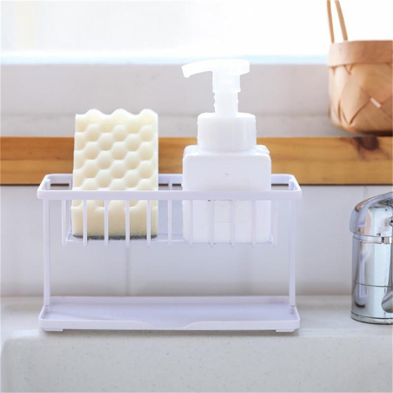 Évier drain étagère plastique double couche amovible salle de bain maison savon savon sponge étagère