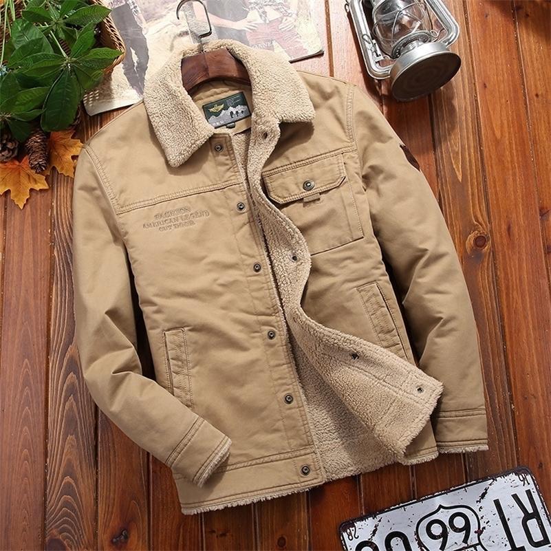 Men Winter Casual Plus Velvet Jacket Thick Warm Men Windbreaker Cotton Padded Outerwear Fashion Male Fur Collar Bomber Coat 201104