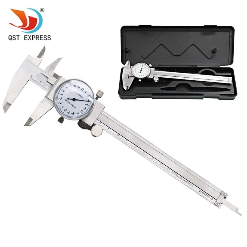 QstExpress مقياس قياس أداة الطلب الهاتفي الفرجار 0-150mm / 0.02 ملليمتر الصدمات المقاوم للصدأ الفولاذ المقاوم للصدأ الدقة الورني الفرجار T200602