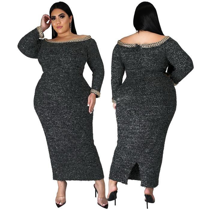 زائد الحجم المرأة فساتين المخملية فضفاض مثير طويل الأكمام bodycon اللباس بلون مائل الرقبة سبليت المرأة الملابس