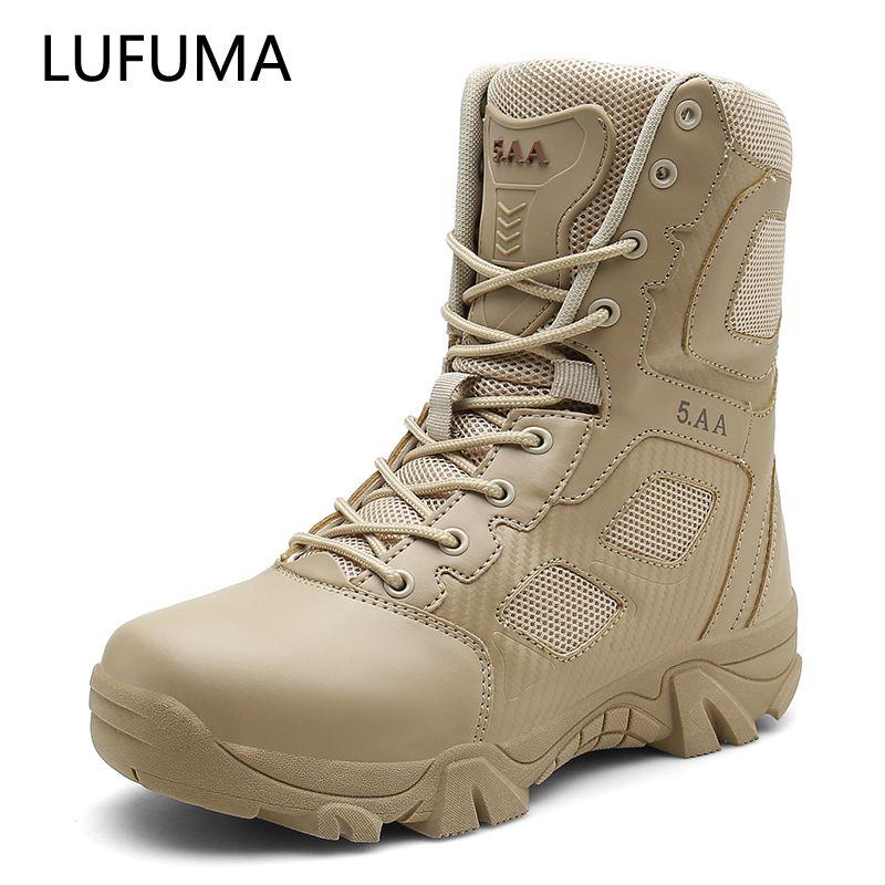 Lufuma Boyutu 39-47 Çöl Taktik Erkek Botları Aşınmaya dayanıklı Ordu Çizmeler Erkekler Su Geçirmez Açık Yürüyüş Erkekler Savaş Ayak Bileği Çizmeler 201127