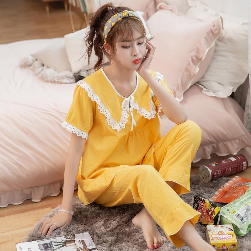 2021 Baumwolle Seide Neue Pyjamas Damen Lange Sommerhülse Hose Zwei Stück Set Frühling und Herbst Dünne Korean große Größe Lose Home Kleidung