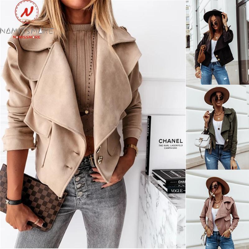 Damenjacken Mode Frauen Herbst Winter Solide Farbe Mantel Einreiher Design Abzugskragen Langarm Slim Plüsch Cardgian Jacke