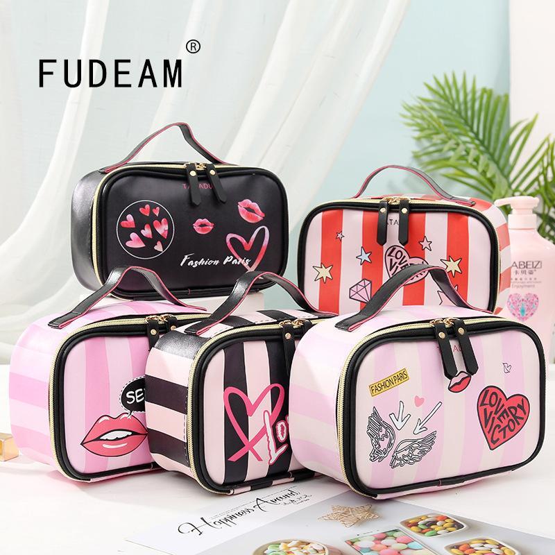 Frueam Leder Liebe Herz Tragbare Frauen Kosmetiktasche Multifunktions Reisespeicherung Organisieren Tragbare Handtasche Reißverschluss Make-up
