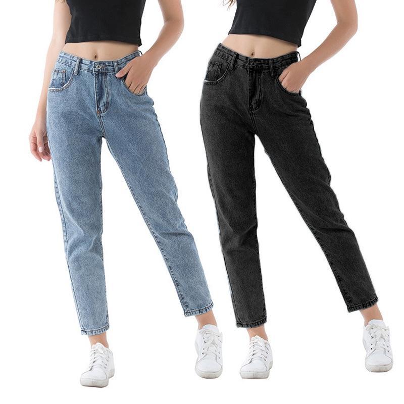 Женские джинсы для женщин высокая талия джинсовые брюки прямые повседневные