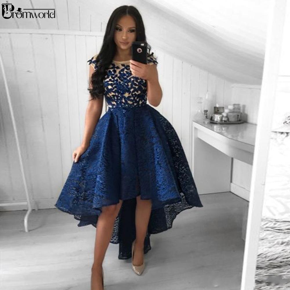Alto-bajo de azules marinos de Fiesta Vestidos de encaje vestidos de partido formales 2020 del bordado del vestido del traje de cóctel elegante graduacion De