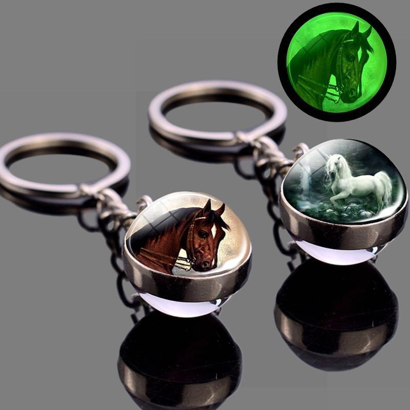 Karanlıkta Glow At Anahtarlık Parlayan At Sayfalar Aydınlık Atlar Cam Top Anahtarlık Çılgın Severler Hediyeler Anahtar Yüzükler