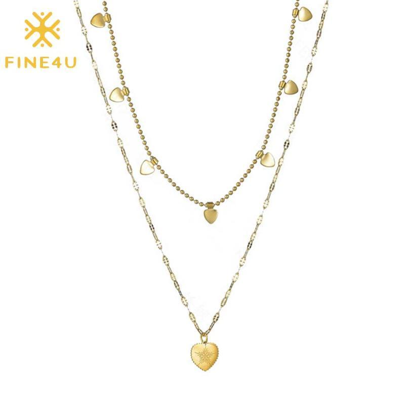 Colgante de múltiples capas en capas FINE4U Dainty Gargantilla Collares hechos a mano corazón de la estrella de estratificación del collar de cadena ajustable N01842