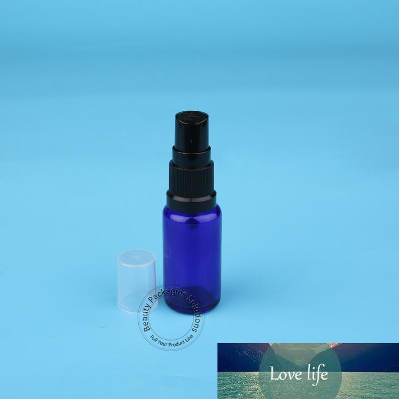 Promotion 15ml 10pcs / Lot синего стекла спрей бутылки Духи Jar Малый 1/2 OZ Форсунка Пустой Parfum Cosmetic Контейнер Black Cap Pot
