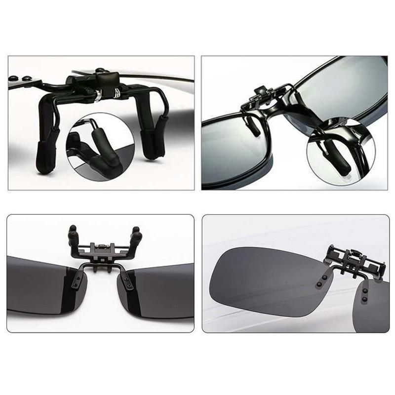 La clip polarizzata sull'occhio Occhiali di visione notturna di guida flip up anti UV Glare occhiali da sole per Miope Lens - Giallo