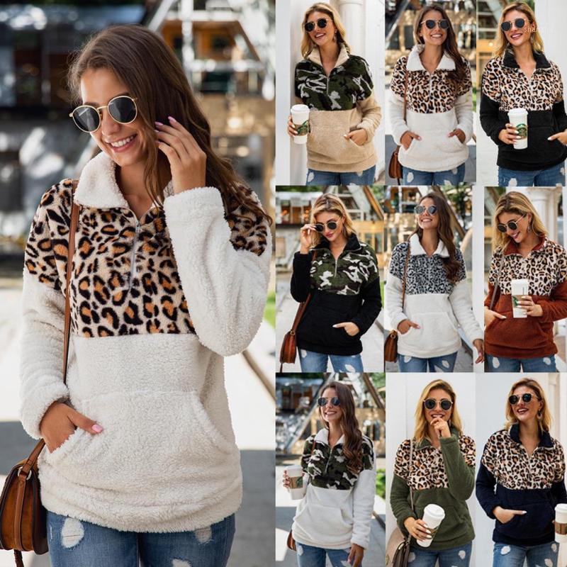 Wontive Women Fleece Sweatshirt 겨울 캐주얼 가짜 모피 레오파드 패치 워크 솜털 여성 후드 따뜻한 지퍼 두꺼운 Sherpa Tops1