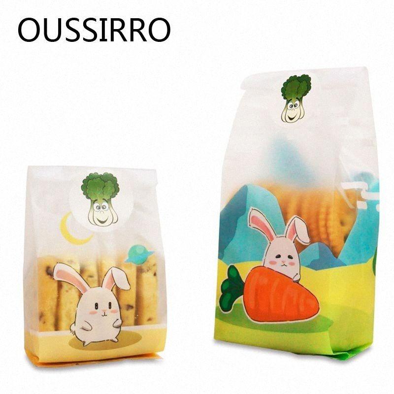 Snack Bag regalo 25pc orecchio lungo sacchetto di plastica del biscotto Kawai Candy Cookie plastica Buon compleanno decorazioni Torrone Imballaggio Borse RVU4 #