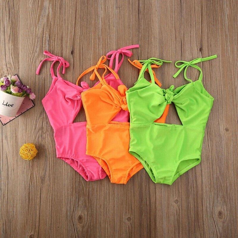 Bambina bambino Costume intero senza maniche Bownot Swimwear costume da bagno Estate Costume Beachwear per 1-5Yrs 0YLR #