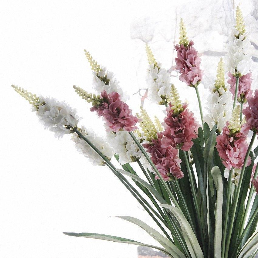 3 teste fiori di lavanda lungo ramo artificiale per il matrimonio decorazione della casa falsi fiori decorativi flores Giacinto HIj5 #