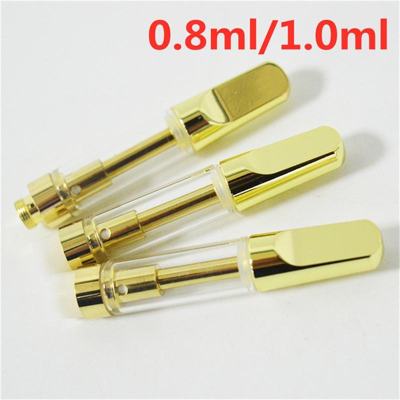 Altın Vape Kartuşları 0.8ml 1.0 ml Atomizerleri TH205 Seramik Bobin Vape Kalem Cam Tankları 1.0 ml Kalın Yağ Buharlaştırıcılar 510 Pil Için E-Sigaralar