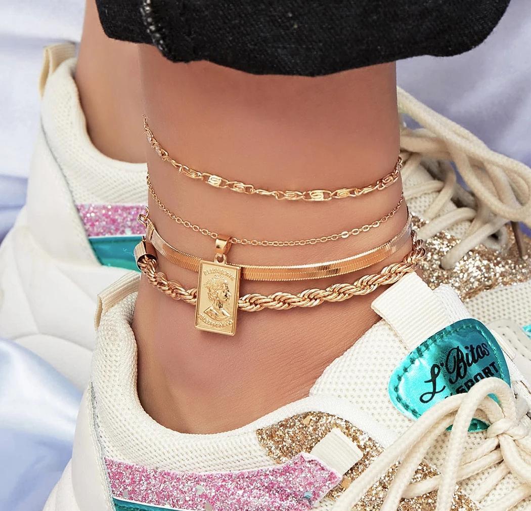 الأزياء 4 قطعة / المجموعة خلخال سوار للنساء اكسسوارات القدم الصيف شاطئ حافي القدمين الصنادل سوار الكاحل على jllzbh bde_jewelry