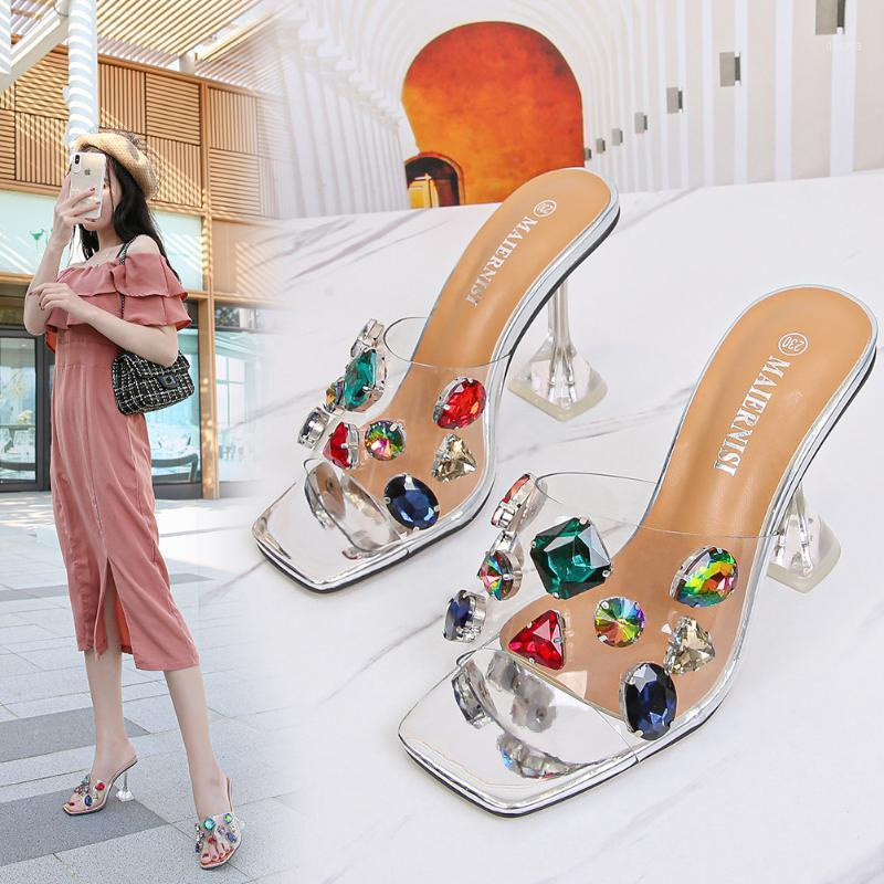 Sweet2020 High-heeled Buckle Shoes Personalized Cool Rhinestone Home Travel Fashion High Heel Sandals1