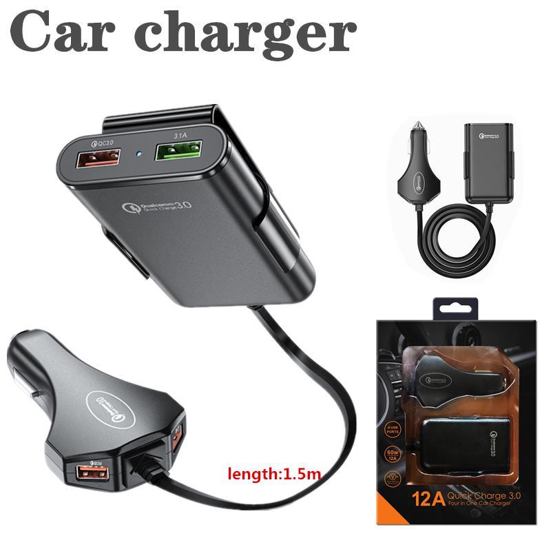 Yeni 4 Port USB QC 3.0 Araç Şarj Quick Charge 3.0 Telefon Araba Hızlı Ön Arka Şarj Adaptörü Araç Taşınabilir Şarj Tak ile Perakende Paketi