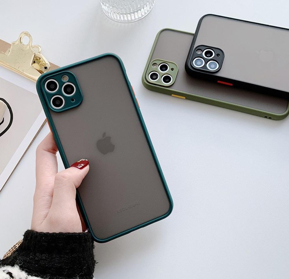 iPhone 12 Mini Kamera Koruma Kılıf iPhone 12 11 Pro Max XS XR Max 8 7 6 Plus Darbeye Tampon Buzlu Sabit PC Kapak İçin