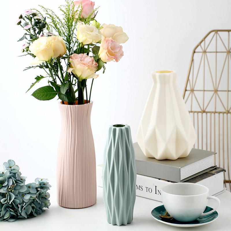 Plastic Vase Home for Decoration White Imitation Ceramic Flower Pot Flower Basket Wedding Decorative Dining Table Bedroom