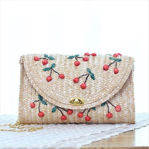 Fruit, Cerise, Paille Sac de plage Boho Femmes Messenger Bag Straw Femmes Broderie Tricoté Satchel