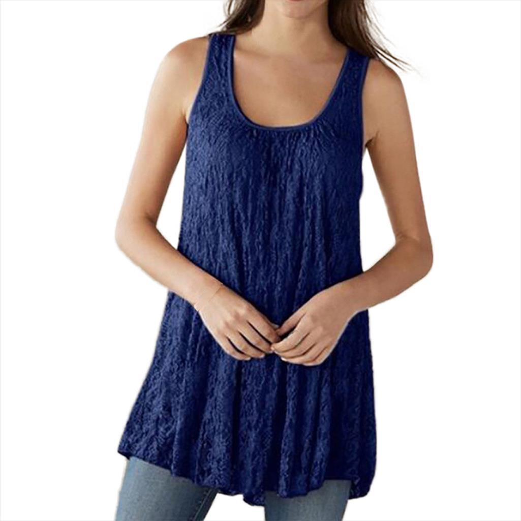 Plus Size Fashion Frauen O Ansatz Sleeveless Weste Fest Sommer-Oberseiten-beiläufigen losen Tank Top