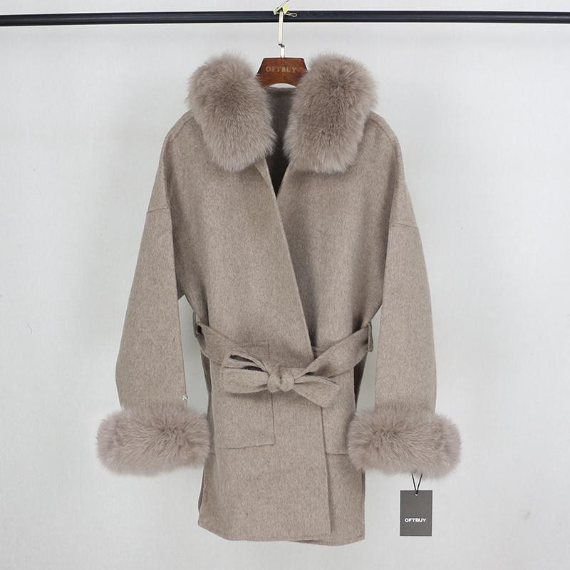 OFTBUY Gerçek Kürk Kış Ceket Kadınlar Doğal Fox Kürk Yaka Manşetleri Hood Kaşmir Yün Yün Oversize Bayanlar Dış Giyim 201103