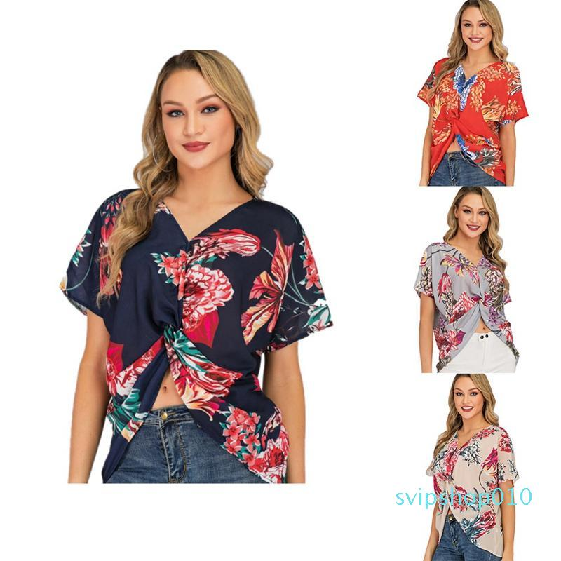 2021 New Designers T Shirts Women's Blouse Summer Bat Sleeve Print V-Neck Tunic Womens Tops and Blouses
